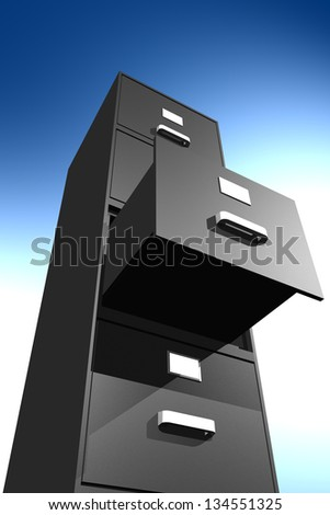 Photo of unlocked file cabinet (3D) - stock photo
