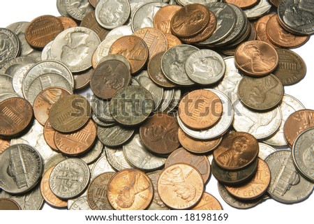 photo of US coins on a white background - stock photo