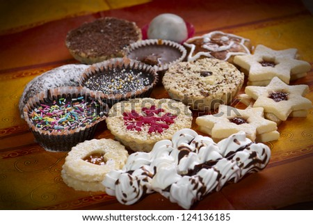 Photo of various sweet cakes - vignette view.