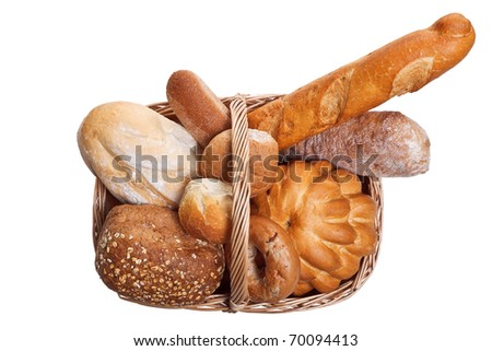 Photo of various types of bread in a wicker bascket isolated on a white background.