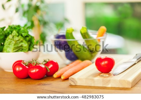 Photo of veggie on a wooden cut board