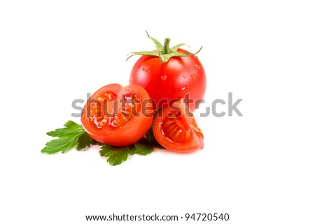 photo of very fresh tomatoes presented on white background - stock photo