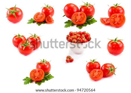 photo of very fresh tomatoes presented on white background - Collage - stock photo