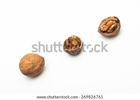 Photo of walnuts against white background with soft shadow