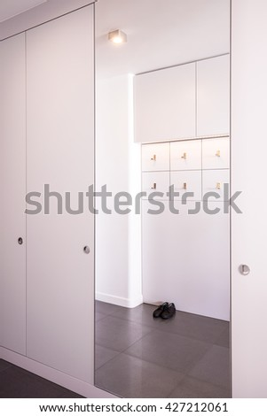 Photo of white big closet with mirror in stylish flat