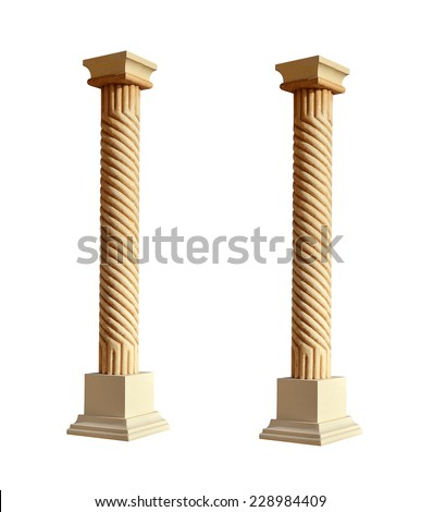 Photo of white column isolated on white background. - stock photo