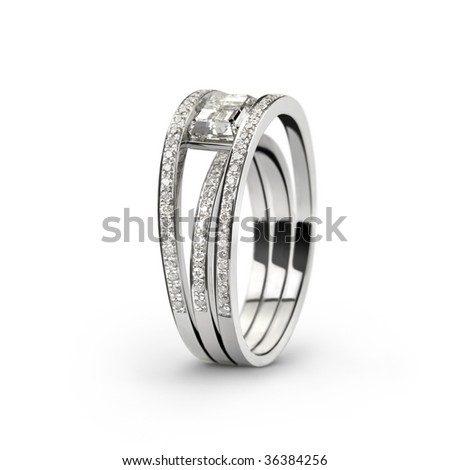 Photo of white gold ring with white diamonds_2