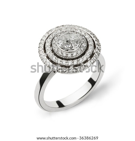 Photo of white gold ring with white diamonds for gift or marriage - stock photo