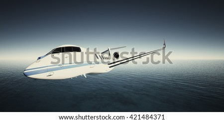 Photo of White Luxury Generic Design Private Jet Flying in Sky under the water surface. Blue Ocean Background. Business Travel Picture.Horizontal,Film Effect. 3D rendering
