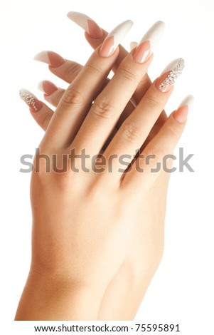 Photo of woman hands with beautiful manicure