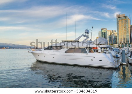 Photo of yacht parked - stock photo