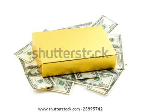 Photo of yellow gift box over dollars background