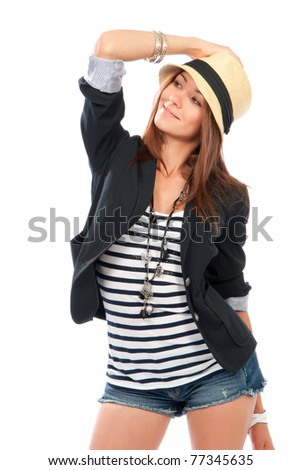 Photo of young fashionable beautiful brunette woman casual cloth in modern stylish hat isolated on a white background