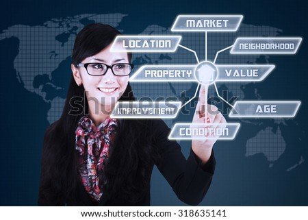Photo of young female investor touching the button of property value scheme - stock photo
