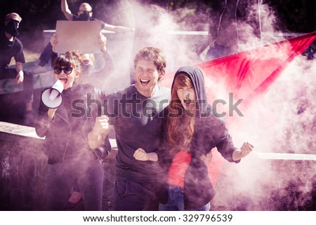 Photo of young initiators of protest against government - stock photo