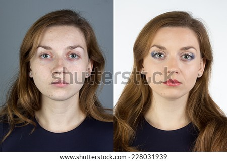Photo of young woman before and after make up - isolated photo - stock photo