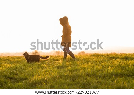 Photo of young woman with her Norwegian Forest cat in meadow at sunset. Soft light. - stock photo