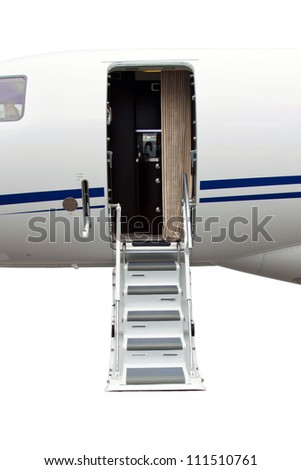 photo off ladder in a private jet isolated on a white background - stock photo