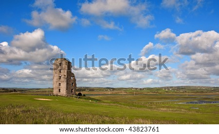 photo old ancient decay irish castle in county clare ireland - stock photo