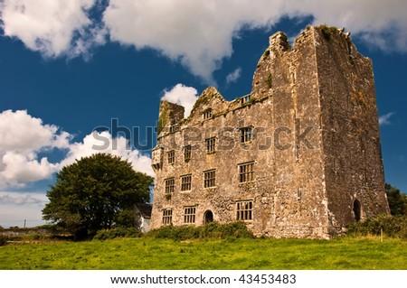 photo old irish castle in the west of ireland - stock photo