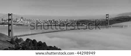 photo panoramic of san francisco golden gate bridge - stock photo