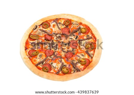Photo pizza on the white background