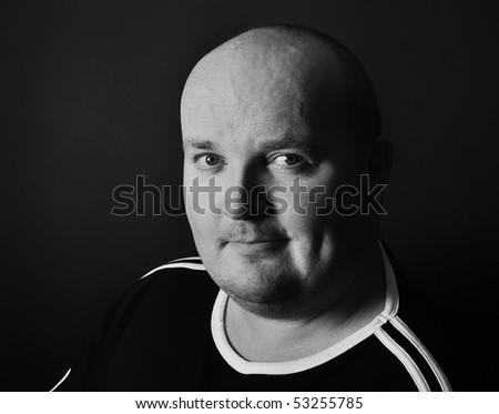 photo portrait close up of overweight male in his 30's