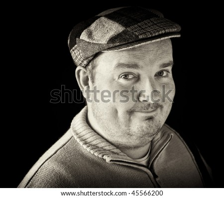 photo portrait of a overweight male on black - stock photo