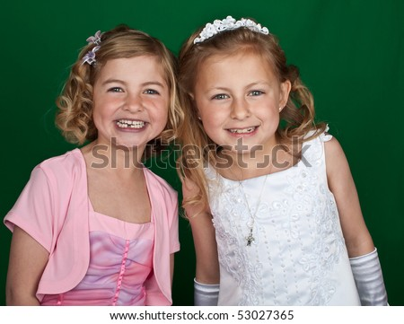 photo portrait of sisters in formal dress