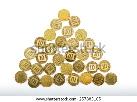 Photo pyramid composed of 10 agorot coins Israeli bank . - stock photo