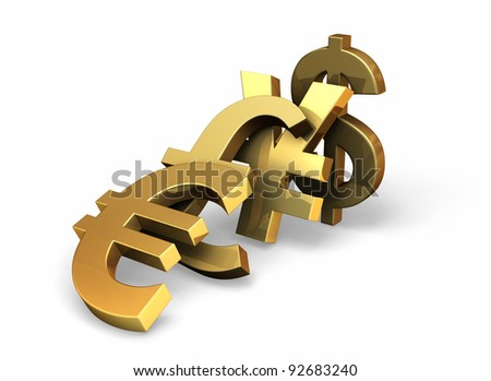 Photo real illustration of major currency symbols tipping each other over like dominoes.  With drop shadow on white. - stock photo