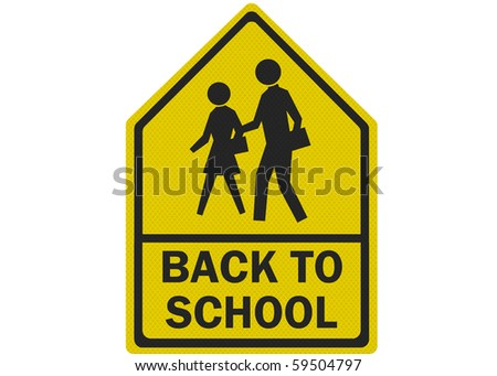 Photo realistic 'back to school' sign, isolated on a pure white background - stock photo