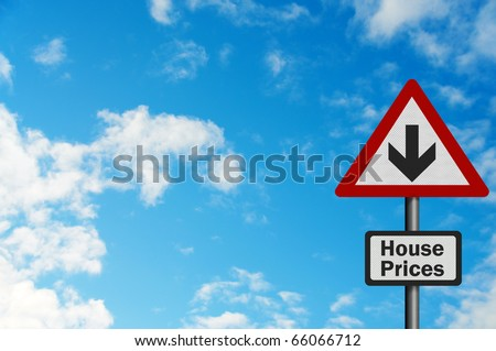 Photo realistic bright, clean 'falling house prices' sign with space for your text / editorial overlay - stock photo