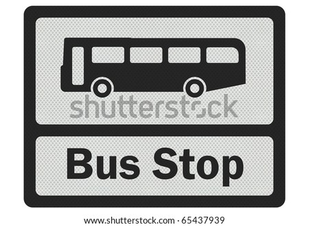 Photo realistic metallic reflective 'Bus Stop' road sign, isolated on pure white - stock photo