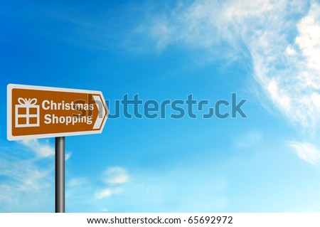 Photo realistic metallic, reflective 'Christmas shopping' sign, with space for your text / editorial overlay - stock photo