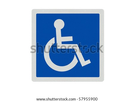 Photo realistic metallic reflective 'disabled' sign, isolated on white background (blue version) - stock photo