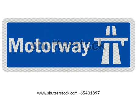 Photo realistic metallic, reflective ' Motorway' sign, isolated on pure white - stock photo