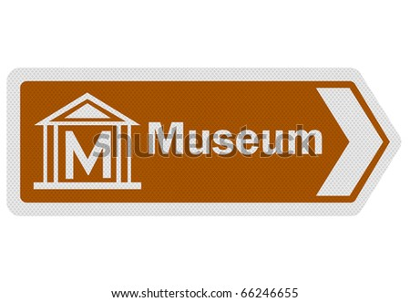 Photo realistic metallic reflective 'museum' road sign, isolated on pure white - stock photo