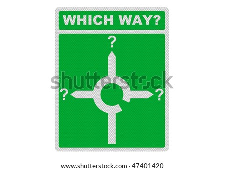 Photo realistic metallic reflective road sign, depicting a roundabout with question marks - concept of decision making - isolated on a pure white background - stock photo