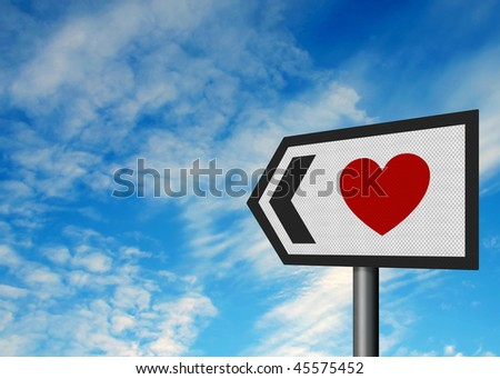 Photo-realistic metallic reflective roadsign, depicting a heart - concept of finding love