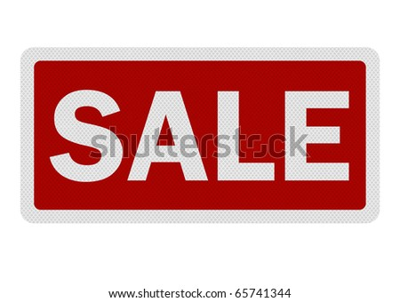 Photo realistic metallic reflective 'sale' road sign, isolated on pure white - stock photo