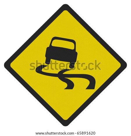 Photo realistic metallic reflective 'slippery road' sign, isolated on pure white - stock photo