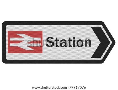 Photo realistic metallic, reflective 'station' sign, isolated on white