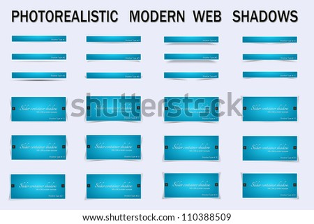 Photo-Realistic Modern Web Shadows A powerful collection of  shadows perfect for boxes, images, sliders and other web elements - stock photo