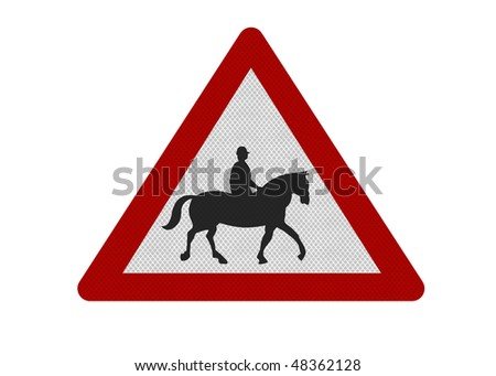 Photo realistic reflective metallic 'accompanied horses' sign, isolated on a pure white background.