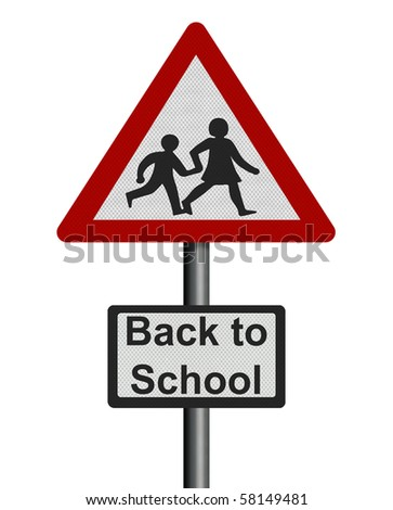 Photo realistic reflective metallic 'back to school' sign, isolated on a pure white background.