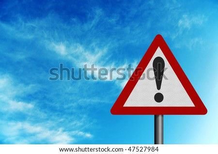 Photo realistic reflective metallic 'caution' sign, against a background of a bright blue sky. With editorial space for your text. - stock photo