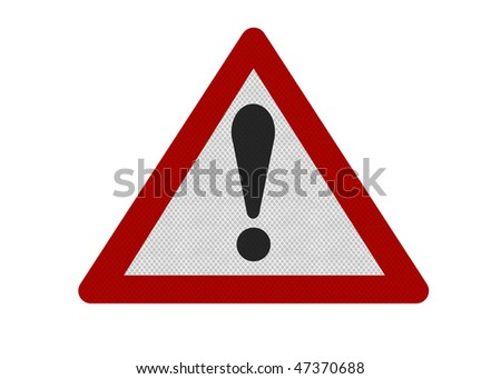 Photo realistic reflective metallic 'caution' sign, isolated on a pure white background. - stock photo