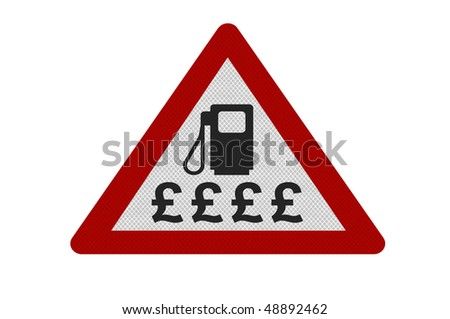 Photo realistic reflective metallic 'expensive fuel' sign, isolated on a pure white background. - stock photo