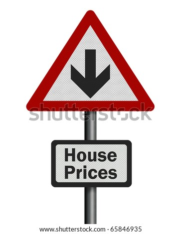 Photo realistic reflective metallic 'falling house prices' sign, isolated on a pure white background.